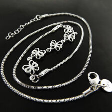 A693 GENUINE REAL 925 STERLING SILVER S/F GIRLS BUTTERFLY PENDANT CHAIN NECKLACE