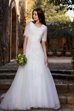 Modest Wedding Dresses Half Sleeves Lace Tulle White Ivory Bridal Gowns Custom