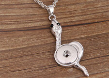 NEW Snake Crystal Alloy Pendant for Fit Noosa Necklace Snap Chunk Button DR96