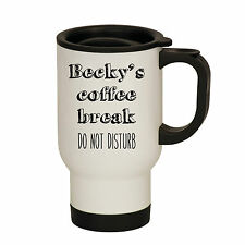 TRAVEL MUG PERSONALISED COFFEE BREAK DO NOT DISTURB CUP FLASK PRESENT GIFT NAME