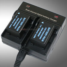 Dual Charger +2x Battery for DMW-BMB9 DE-A83 Panasonic MC-FZ40 DMC-FZ45 DMC-FZ48