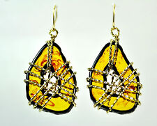 ELEGANT GOLD WIRE HONEY GLASS BEAUTIFUL STATEMENT EARRING PHAROAH EGYPTIAN (CL1)