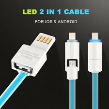2 in 1 Micro USB Sync LED Light Line Charger 8 Pin Data Cable Iphone 5 6 Samsung