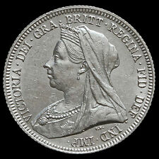 1893 Queen Victoria Veiled Head Silver Shilling – G/EF