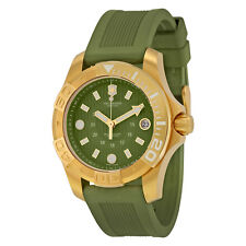 NEW VICTORINOX SWISS ARMY MEN'S GOLD PVD STAINLESS STEEL CASE GREEN WATCH 241557