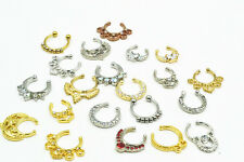 LOT50pcs Clip On Fake Septum Clicker Non Piercing Nose Ring Hoop Ring Mix Styles