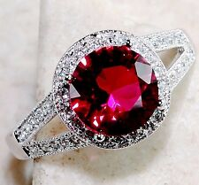 Ruby & White Topaz 925 Solid Genuine Sterling Silver Ring Sz 8
