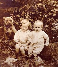 Antique photo postcard 2 mad children Best Friend Old English Bulldog Bully dog