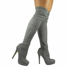 WOMENS LADIES STRETCHY THIGH HIGH OVER THE KNEE LONG PLAIN HEEL BOOTS SHOES SIZE