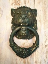 Cast Iron Verdigris Lion Head Heavy Vintage Door Knocker