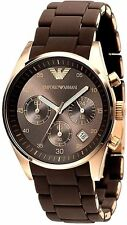 Authentic Emporio Armani AR5891 Brown Dial Silicone Women's Chronograph Watch