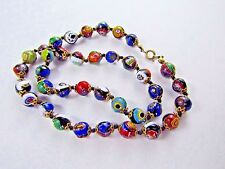 Vintage Colorful Italian Millefiori Venetian Art Deco Glass Beaded Necklace 18 ""