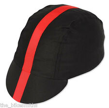 Pace Classic Cap BLACK with RED Stripe Ribbon Cotton Track Road Bike Cycling Hat
