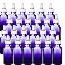 24 - 1oz Purple Shaded Glass Bottles w White Glass Dropper 24 Pack New 30 ML