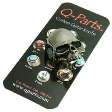 Q-Parts SKULL II Custom Guitar Volume/Tone Knob BLACK CHROME Guitar Part