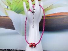 Halskette (Kunstleder) 48 cm in Pink mit 2 roten mit Blumen Kugeln als Anhänger