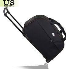 "24"" Rolling Wheeled Tote Duffle Bag Large Carry On Luggage Travel Suitcase Black"