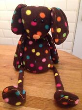 "Jellycat Brown Spotted Bunny Rabbit Toy Bean Bag Large 21"" Comforter Polka Dots"