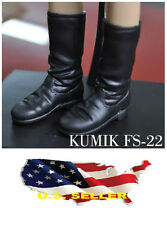 ❶❶1/6 kumik shoes FS-22 Black Widow Catwoman women black long Boot US seller❶❶