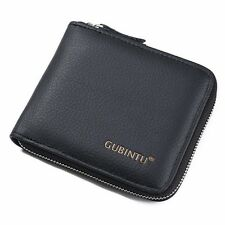 Men's Cowhide Leather Zipper Wallet Bifold Purse Coin Pocket Card Holder Clutch