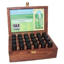 Hand Carved Wood Essential Oil Storage Box Aromatherapy Kit + 24 Essential Oils