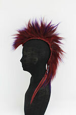 Dark Red & Purple Mohawk Hair Piece Goth Cosplay Punk Mad Max Halloween Mens Wig