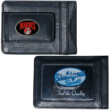 United States Marine Corps Fine Leather Money Clip ID Card Cash Holder Wallet