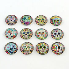 10pcs Half Round/Dome Candy Skull Pattern Glass Flatback Cabochons Mixed color