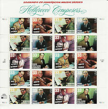 HOLLYWOOD COMPOSERS STAMP SHEET -- USA #3339-#3344 33 CENT MUSIC