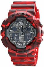 *NEW* CASIO MENS G SHOCK RED CAMOUFLAGE COMBI WATCH XL GA-100CM-4A   RRP£199