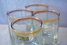 Lot of 4 Vintage Low Ball 22k Culver Rocks Glasses Gold Stripe