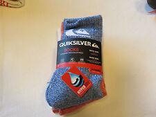 Quiksilver Boys 3 Pair Crew Socks Size 6-8 shoe size 10.5-4 06326T blue off wht