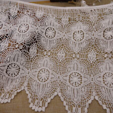 2 Yards White Floral Embroidered Cotton Lace Trim For DIY Craft Wide 13 1/2""