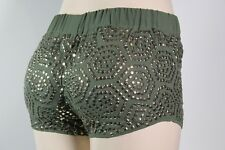100% AUTHENTIC GUESS  SHORTS FOILED HIGH-WAISTED SiZE XS GREEN WHIT STUD GOLD