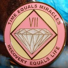 Alcoholics Anonymous AA NA PINK 7 Year Medallion Clean Recovery Token Chip sober