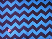 Turquoise Chevron and Black Print Cotton Spandex Jersey Knit Fabric 9oz per Yard