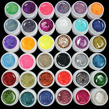 36PCS Glitter Mix Color UV Builder Gel Acrylic Set for Nail Art Tips Salon Tool