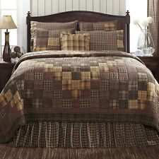 PRESCOTT King Quilt Patchwork Primitive Country Rustic Brown/Creme/Tan Lodge