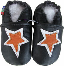 carozoo star black 12-18m soft sole leather baby shoes