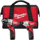 Milwaukee M12 Drill/Impact Combo Kit 2494-22 New