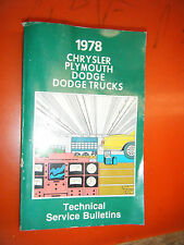 1978 DODGE MAGNUM CHRYSLER CORDOBA PLYMOUTH FACTORY SERVICE BULLETINS MANUAL