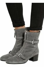 38.5-8 Tabitha Simmons Gray Suede Shearling Lined Shirling Booties Ankle Boots