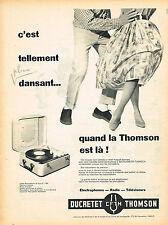 PUBLICITE ADVERTISING 045  1958  DUCRETET-THOMSON   éléctrophone valise 16 tours