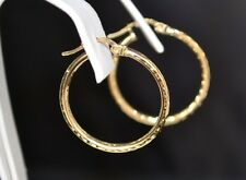 NEW 10K SOLID YELLOW GOLD ROUND DIAMOND CUT HOOP EARRINGS