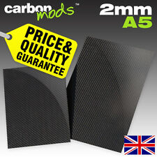 Single Layer Real Carbon Fibre/Fiber Sheet - Wet-Lay, 2mm, A5