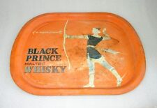 Vintage Old Collectible Black Prince Malted Whisky Ad Litho Tin Tray ADV EHS