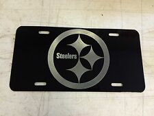 Pittsburgh Steelers Logo Car Tag Diamond Etched on Black Aluminum License Plate