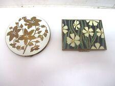 Vtg. Art Deco Powder Compact & Alwyn Cigarette Case - Flowers Black White Gold