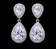 TEAR DROP PENDANT WEDDING CZ CUBIC ZIRCONIA CRYSTAL EARRINGS FASHION JEWELRY