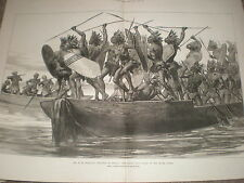 H M Stanley travels in Africa War canoe on River Congo 1878 print ref Y1
